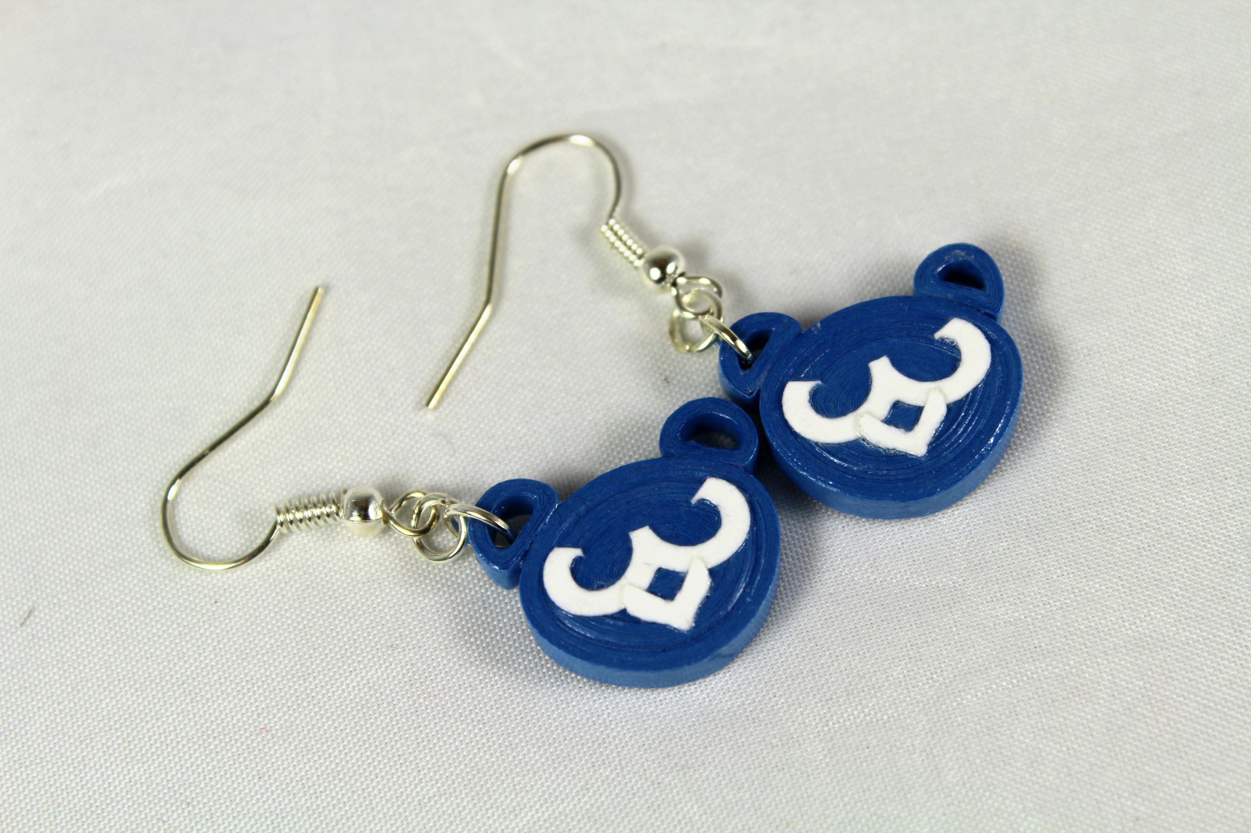 Dangle Blue Bear Cubs Earrings Paper Quilling