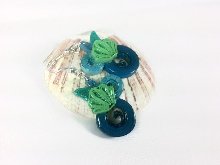 Mermaid Seashell Earrings Paper Quilling Jewelry