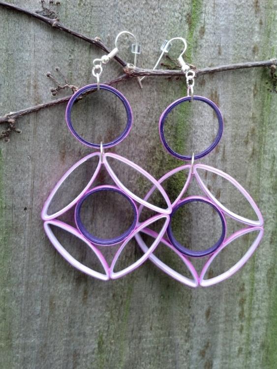 geometric purple statement earrings paper quilling