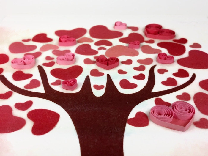 Quilled Hearts Love Tree Art Print Handmade Decor Sweethearts And