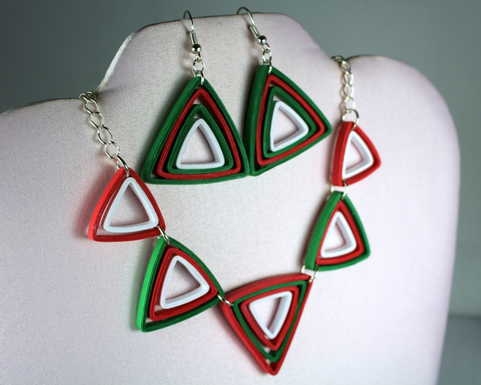 Modern Christmas Jewelry Set Paper Triangles | Sweethearts ...
