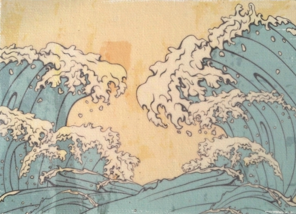 Japanese Waves Seascape Handmade Art Print Sweethearts