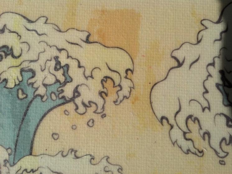 nautical decor, nautical art, nautical print, gel medium transfer, bathroom art