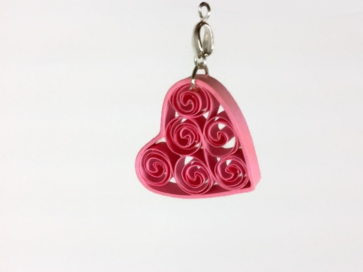 quilling pendant, quilling necklace, heart pendant, pink heart necklace