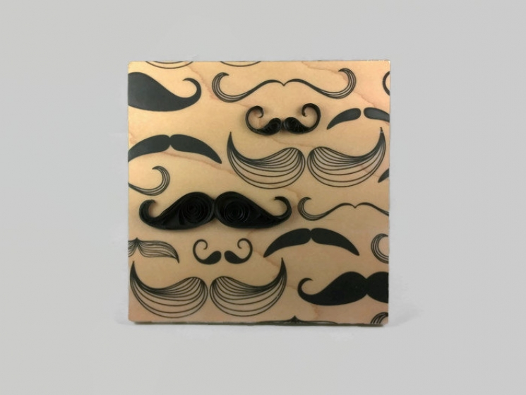 gift for him, mustache quilling, quilling art, mustache print, wood anniversary