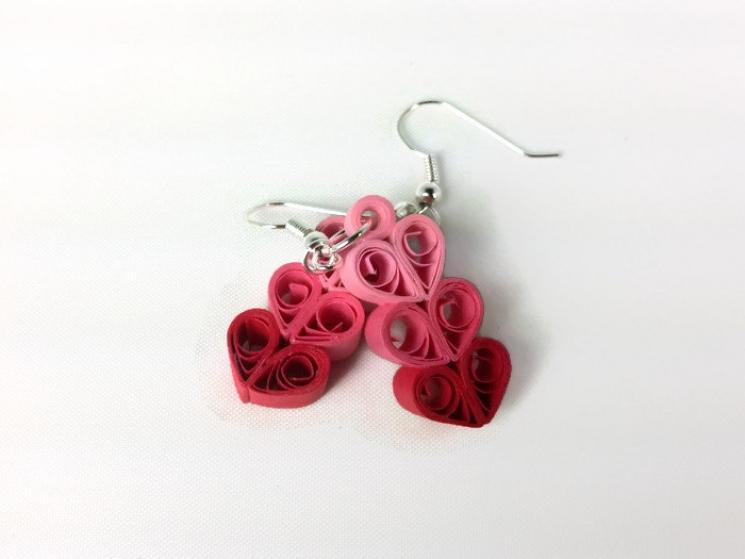 triple hearts, handmade earrings, handmade heart earrings, paper heart