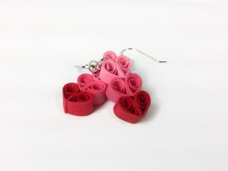 three hearts earrings, heart earrings, paper quilling heart, heart jewelry