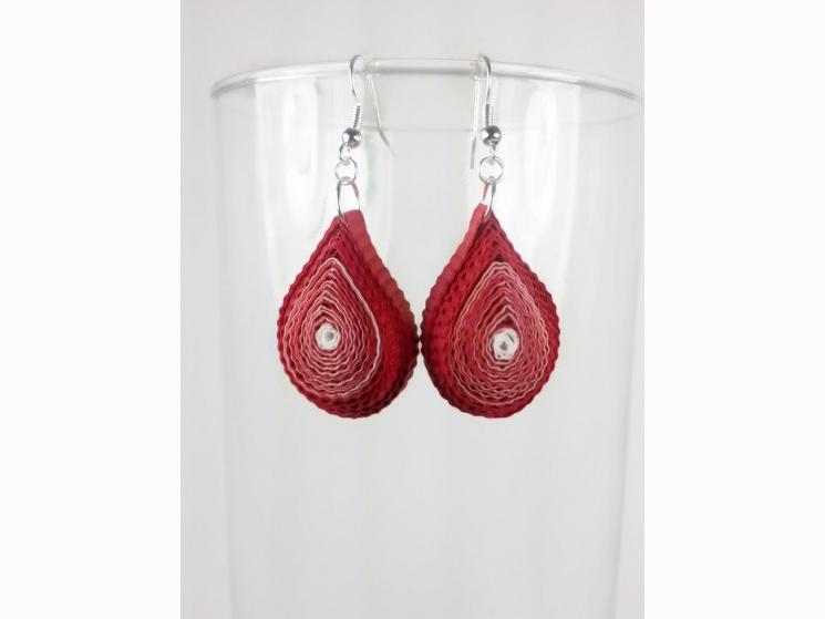 paper flame earrings, paper fire earrings, fire earrings, red earrings, eco chic