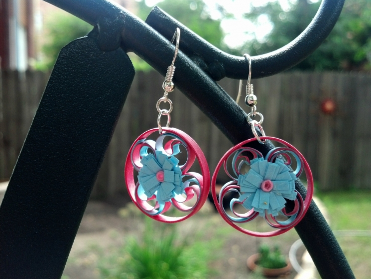 handmade paper earrings, handmade jewelry, handmade earring, handmade in chicago