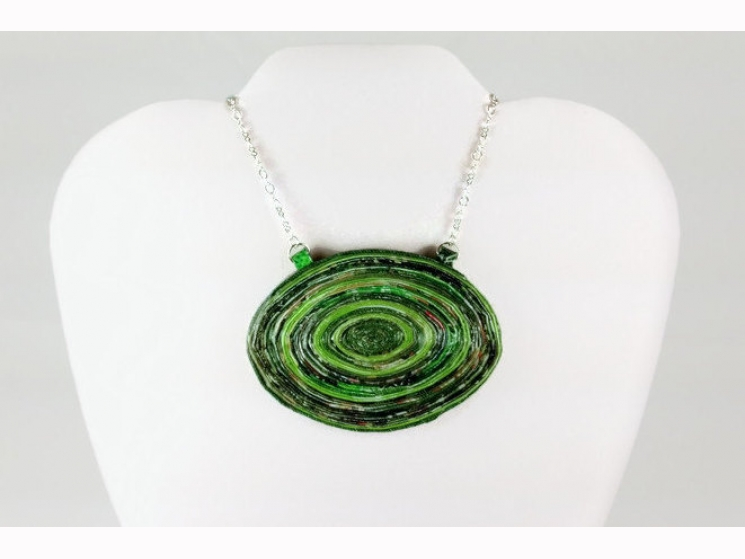 upcycled necklace, chunky necklace, green statement necklace, oversized necklace