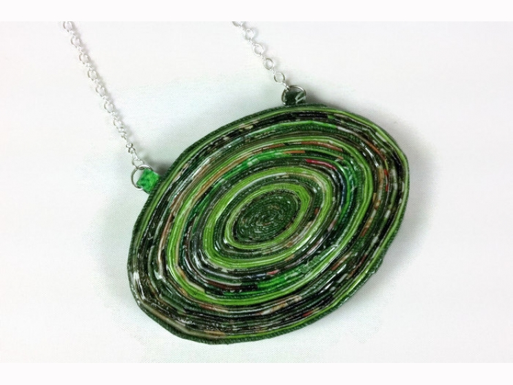 upcycyled paper necklace, large green pendant, huge green necklace, handmade