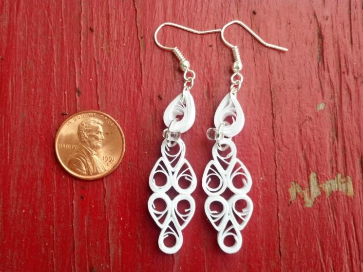 white earrings, white filigree, unique wedding, alternative bride, bridesmaid