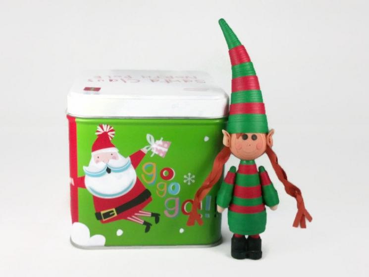 handmade Christmas ornament, Christmas ornament, quilled elf, elf figurine