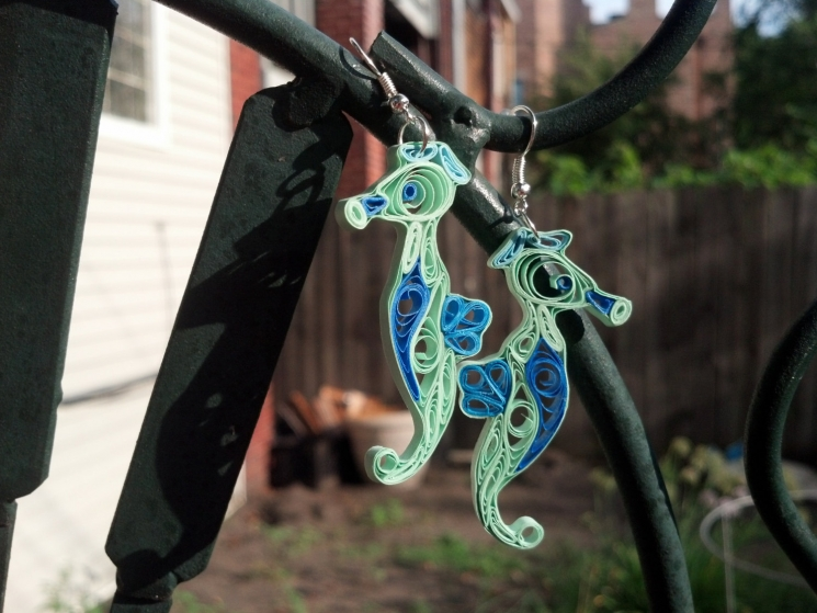 animal earrings, sea creatures, whimsical jewelry, unique jewelry, long earrings