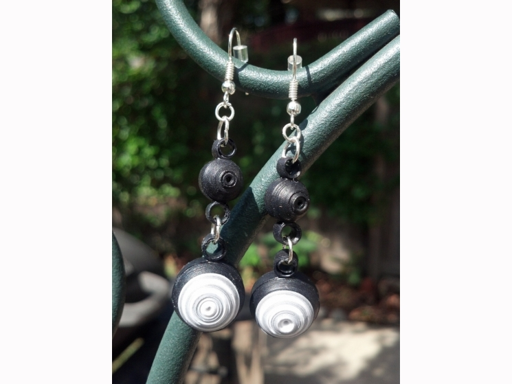 dangle earrings, black chandelier, black paper quilling earrings, eco friendly