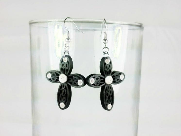handmade cross earrings, black quilling jewelry, black cross earrings
