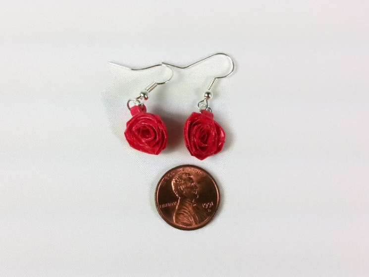 flower earrings, flower drop earrings, flower dangle earrings, paper jewelry