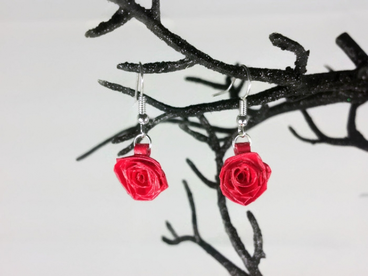 gift for wife, bridesmaid gift, handmade rose earrings, ecofriendly rose earring