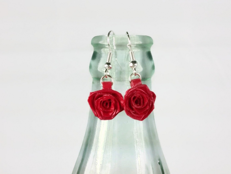 drop rose earrings, red rose jewelry, gift for her, bridesmaid earrings