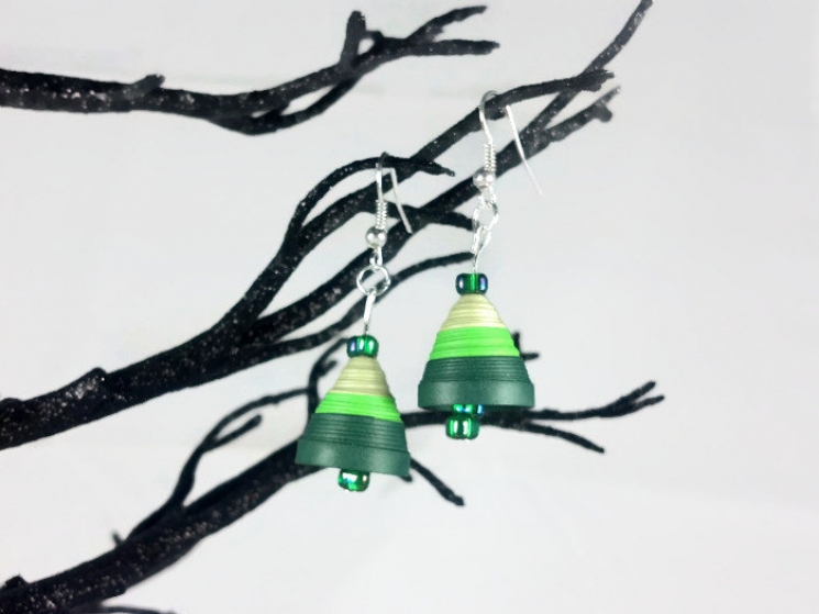 green bell earrings, bell earrings, christmas earrings, unusual earrings