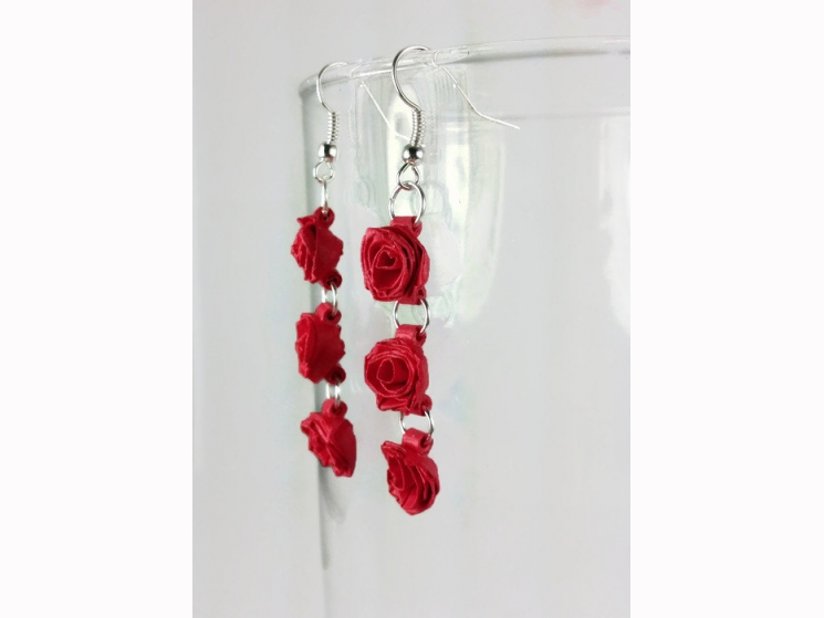 red rose earrings, pink rose earrings, white rose earrings, blush rose