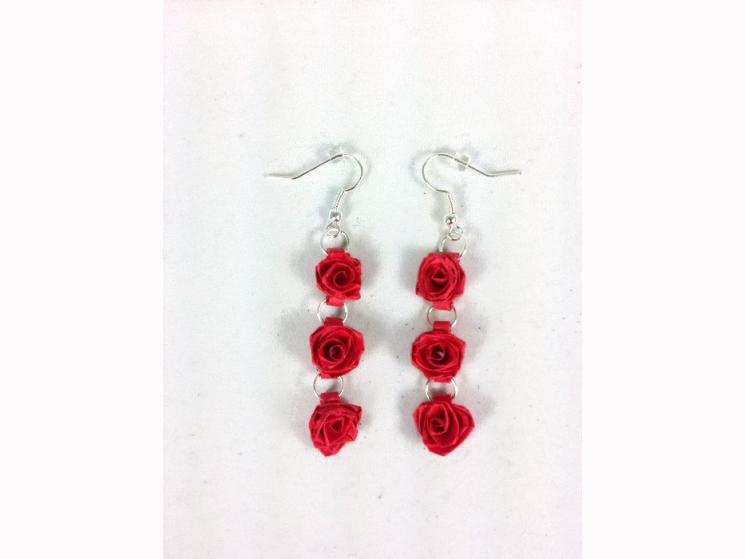 long dangle rose earrings, rose drop earrings, triple rose earrings, boho chic