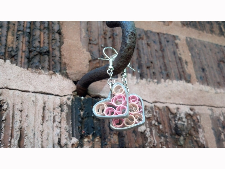 paper quilling jewelry, paper filigree, pink filigree, hearts earrings
