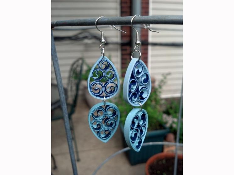 paper filigree chandelier earrings, dangle chandelier earrings, blue earrings