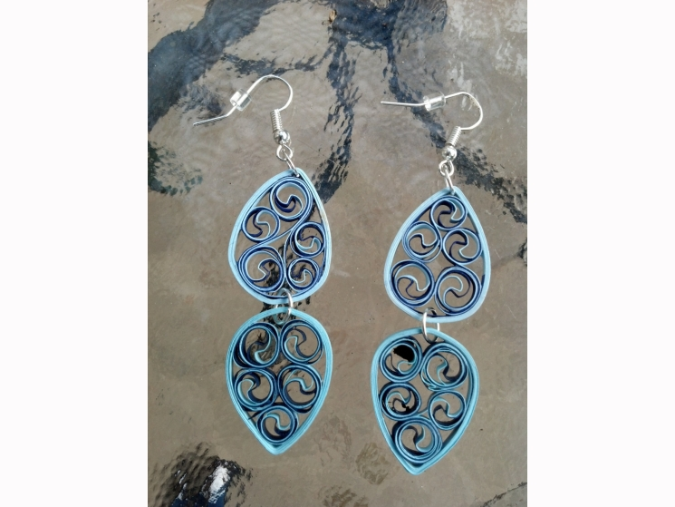 paper anniversary gift for her, first anniversary, blue dangle earrings