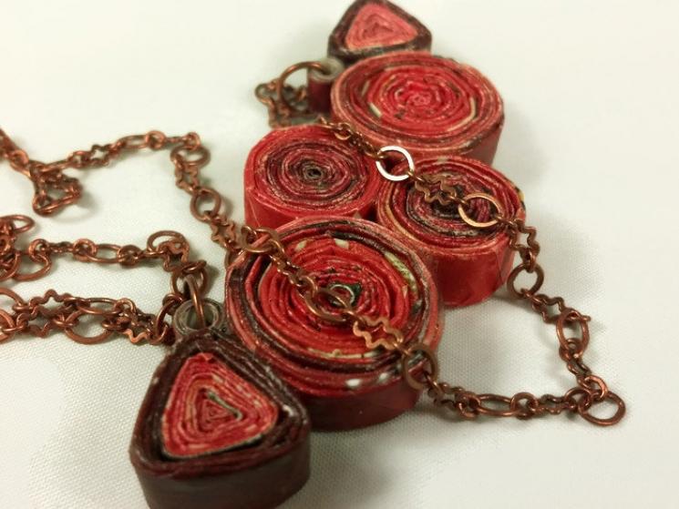 eco friendly jewelry, ecofriendly jewelry, paper jewelry, paper necklace