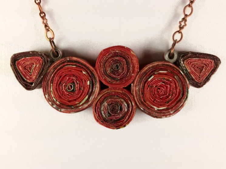 ecofriendly necklace, eco friendly necklace, red paper necklace, red necklace