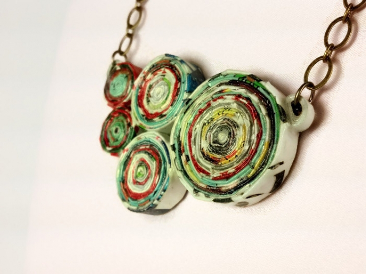 upcycled magazine paper chunky necklace, eco friendly jewelry, recycled necklace