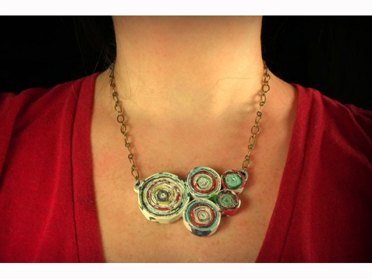 boho necklace, recycled necklace, ethical jewelry, eco chic necklace, whimsical