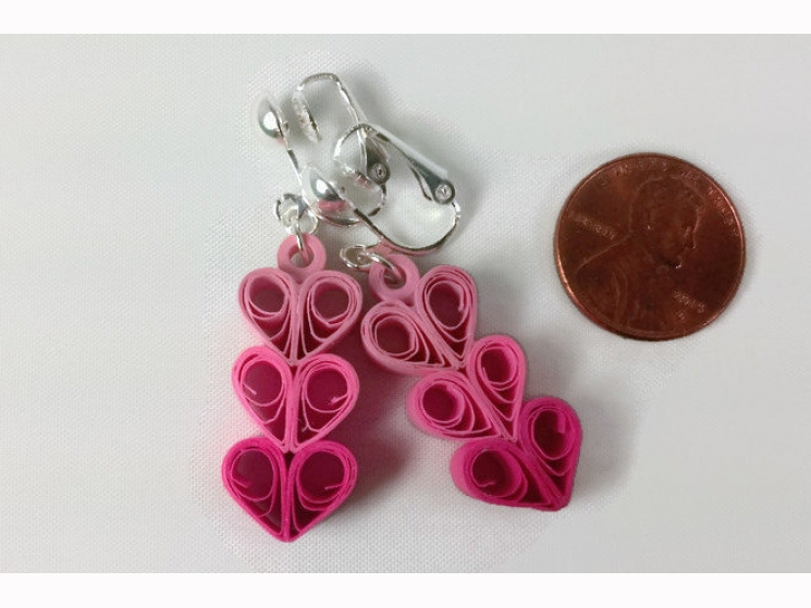 non pierced ears, clipons, clip on heart earrings, paper anniversary gift, first