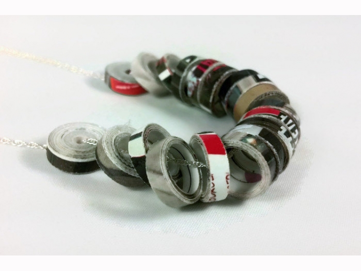magazine necklace, eco chic jewelry, sustainable jewelry, ethical jewelry