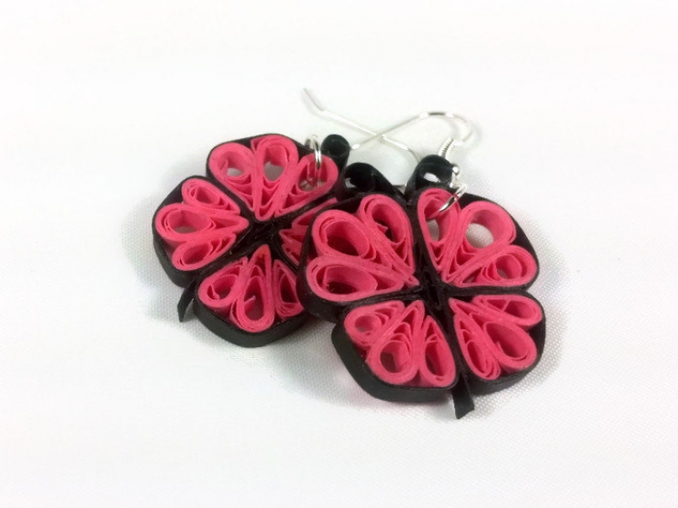 paper quilling pink butterfly earrings, paper quilling earrings, girls earrings