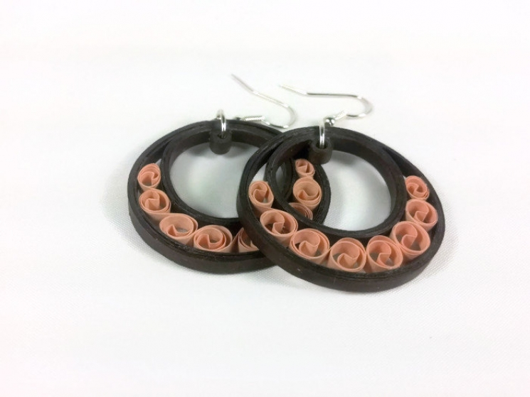 brown crescent moon hoop earring, crescent hoops, paper quill brown hoop earring