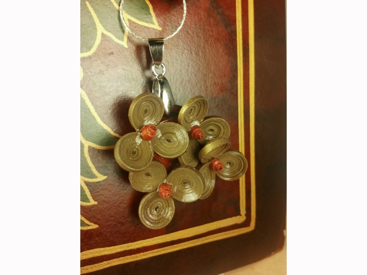 paper necklace, quilling jewelry, flower necklace, bronze necklace, ecofriendly