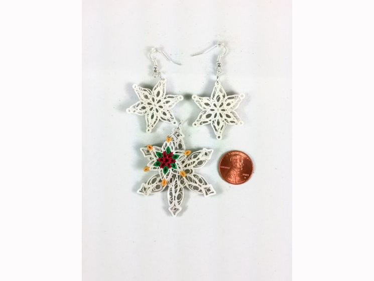 handmade Christmas jewelry, handmade Christmas gift, poinsettia necklace