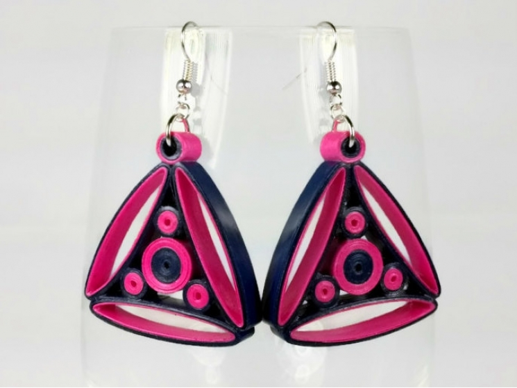 fuchsia and navy earrings, paper quilled earrings, navy and fuchsia earrings