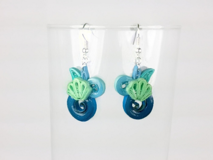 sea shell jewelry, sea green, ocean jewelry, summer earrings, summer jewelry