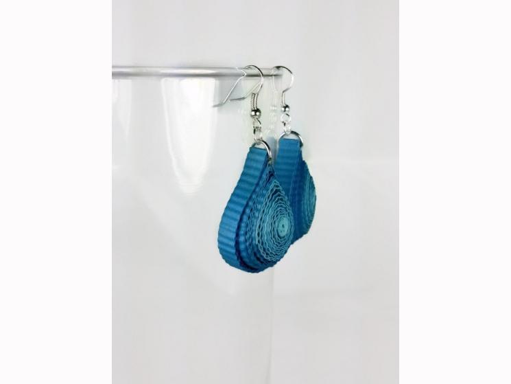 blue tears, paper earrings, paper tears, shades of blue, chunky earrings