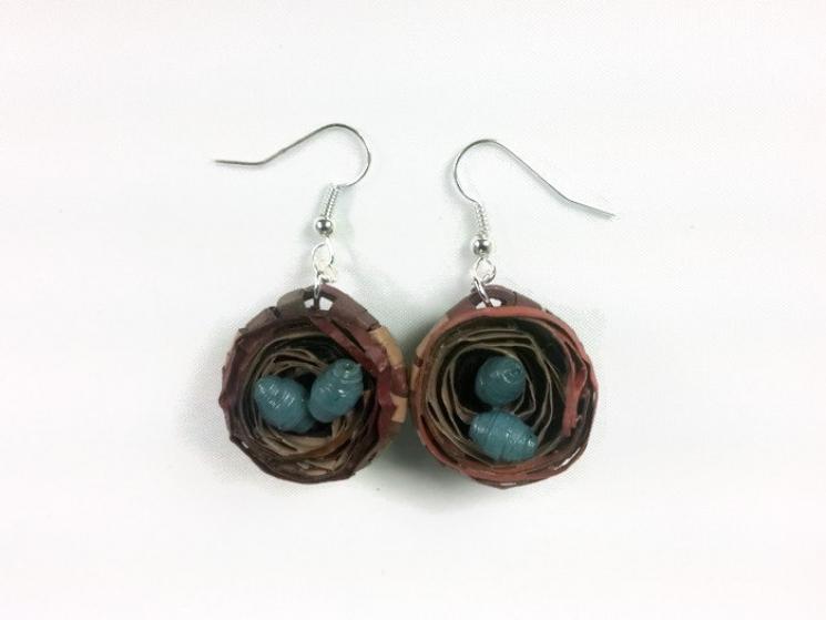 birds nest earrings, handmade bird nest earrings, earrings for mother