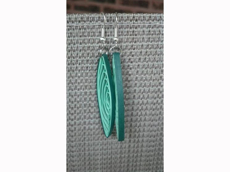 paper quilling earrings, long earrings, ecofriendly earrings, paper earrings