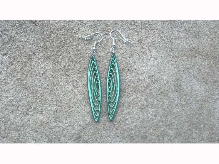 dangle earrings, long dangle earrings, shades of green, unusual earrings