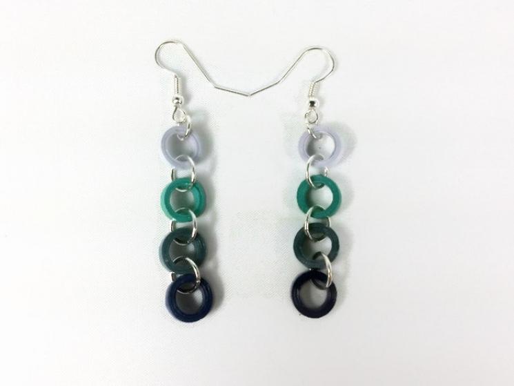 light blue, blue circles, blue rings, dangle ring earrings, ring earrings
