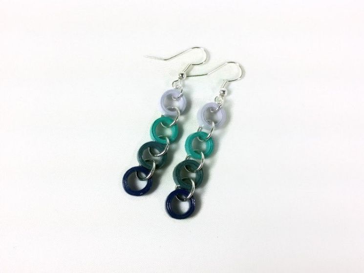 blue chain earrings, paper quilled earrings, quilling jewelry, blue earrings
