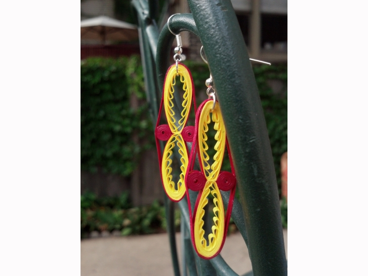 long tribal earrings, paper quilled earrings, tribal earrings, ethnic earrings
