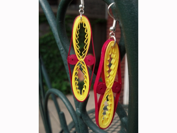 colorful statement earrings, maroon and gold, paper quilling jewelry