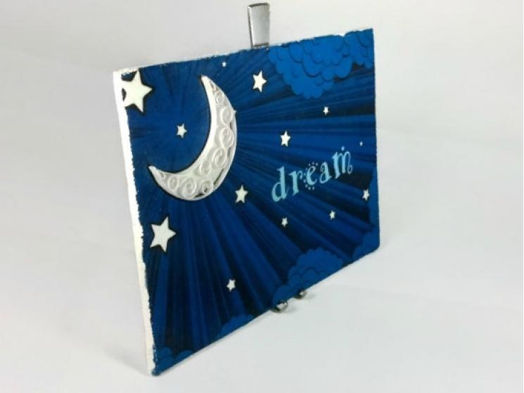 dream print, dream wall art, paper quilling art, moon art print, dream print
